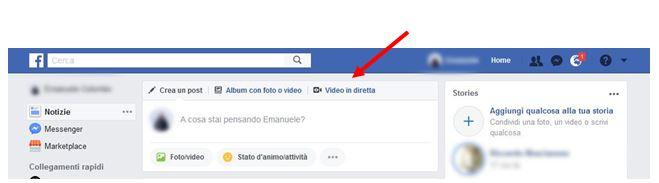 Telecamera Diretta su Facebook