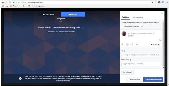Sincronizzazione Facebook Telecamera
