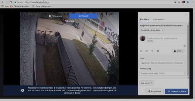 Sincronizzazione Facebook Live Telecamera
